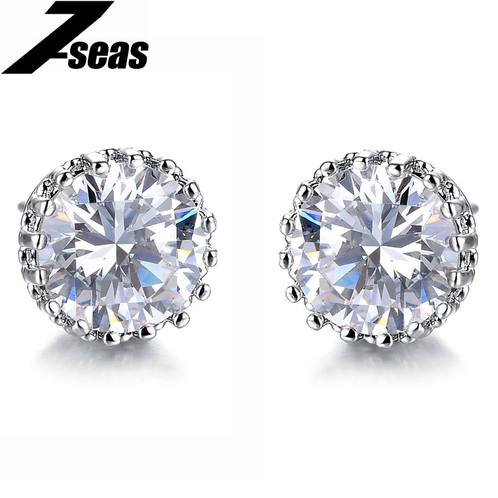 White Gold Studs made with Crystal Round Stud Earrings for Women Girls p4TXCLOHL