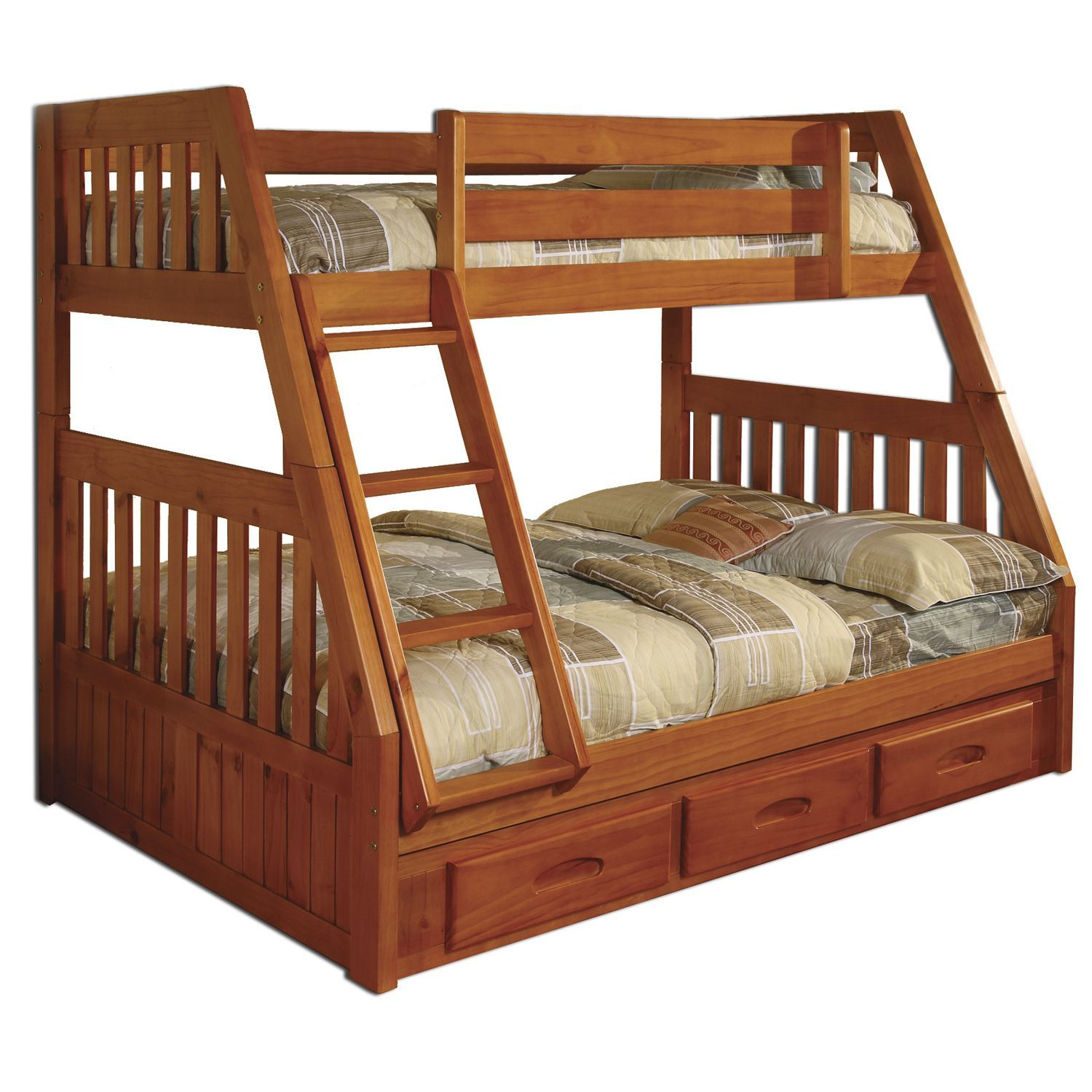 american honey wood 3drawer underneath bunk bed with