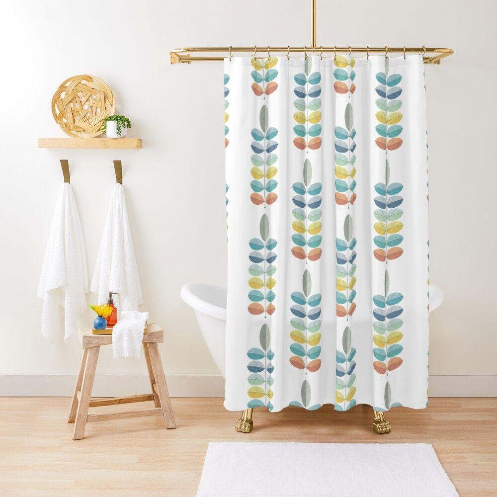 mid century modern shower curtain by