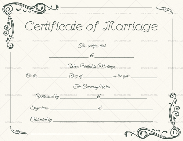 Marriage Certificate Template For Microsoft Word  Printable