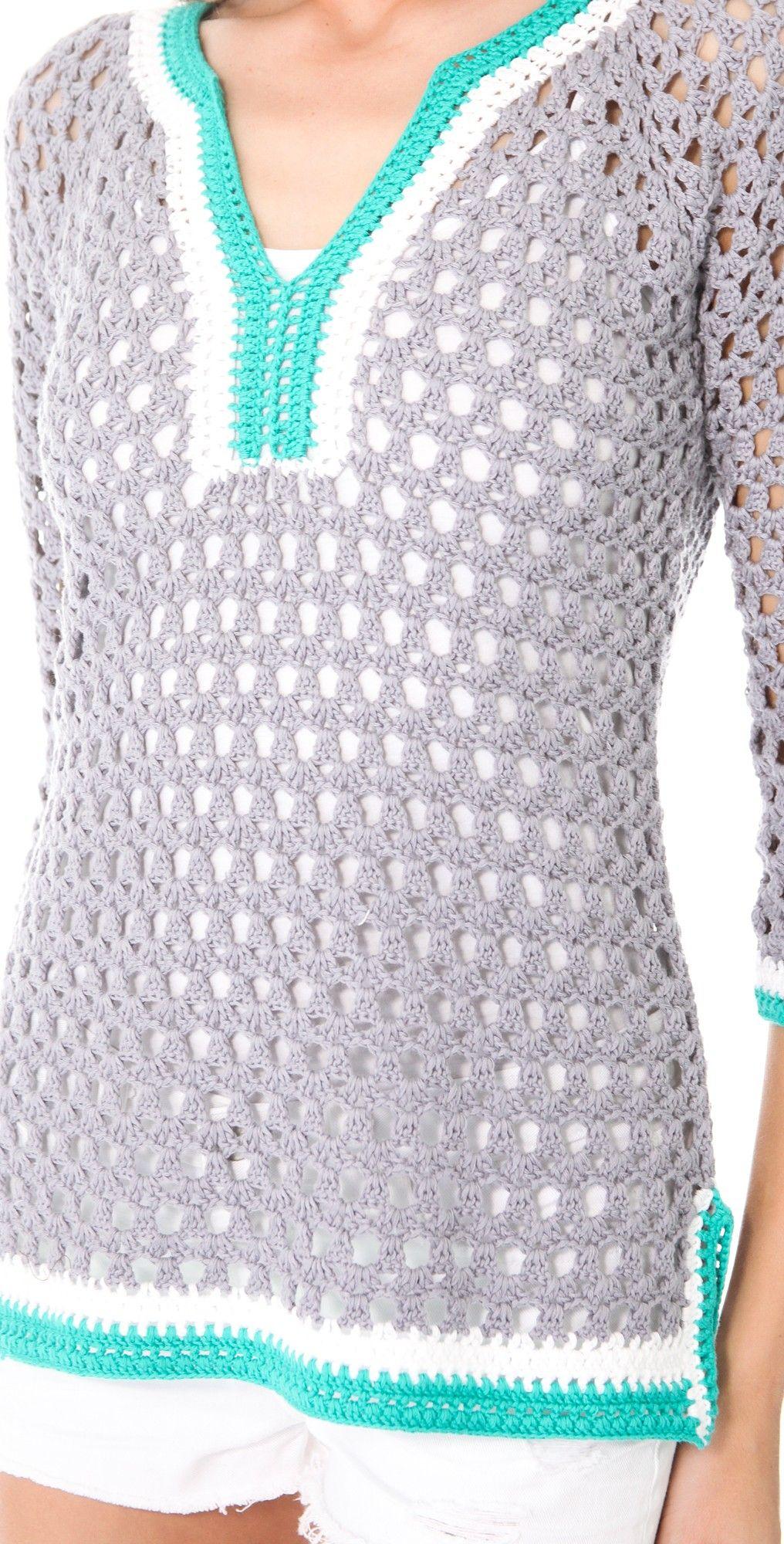 V Neck Crochet Tunic | Crochet tunic, Catherine malandrino and Crochet