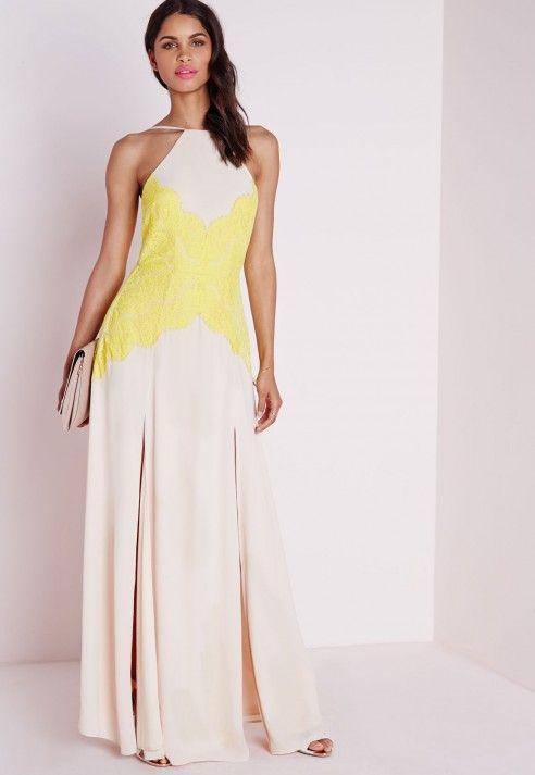 Halterneck Lime Lace Maxi Dress Nude - Dresses - Maxi Dresses ...