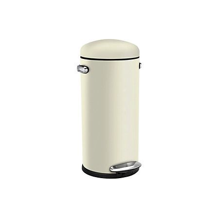simplehuman Retro Cream Stainless Steel Circular Pedal Bin, 30L