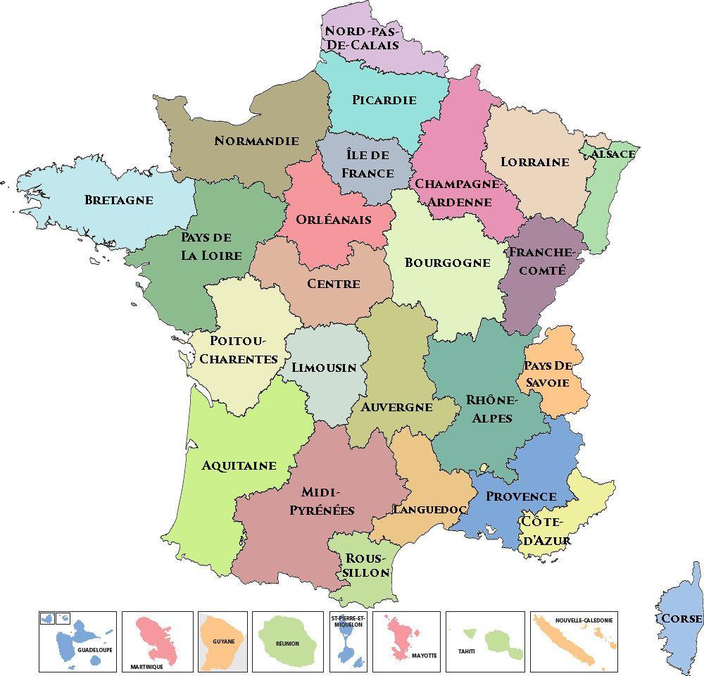 Carte des regions d'élections à Miss France depuis 2011 ...