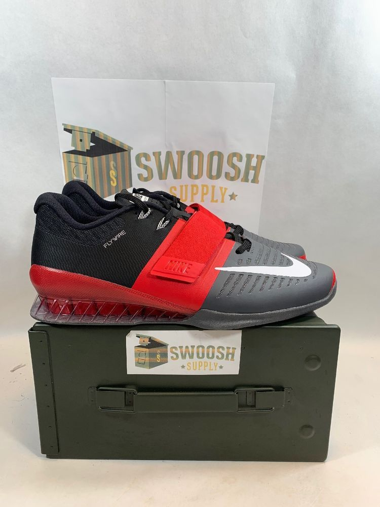 24f68402cef7 Nike Romaleos 3 Mens Weightlifting Shoes Red White Grey Black 852933 600  Size13  Nike  WeightliftingShoes