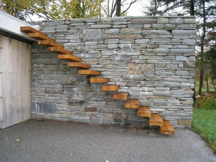 escalier exterieur en bois, design escalier suspendu en 2019 ...
