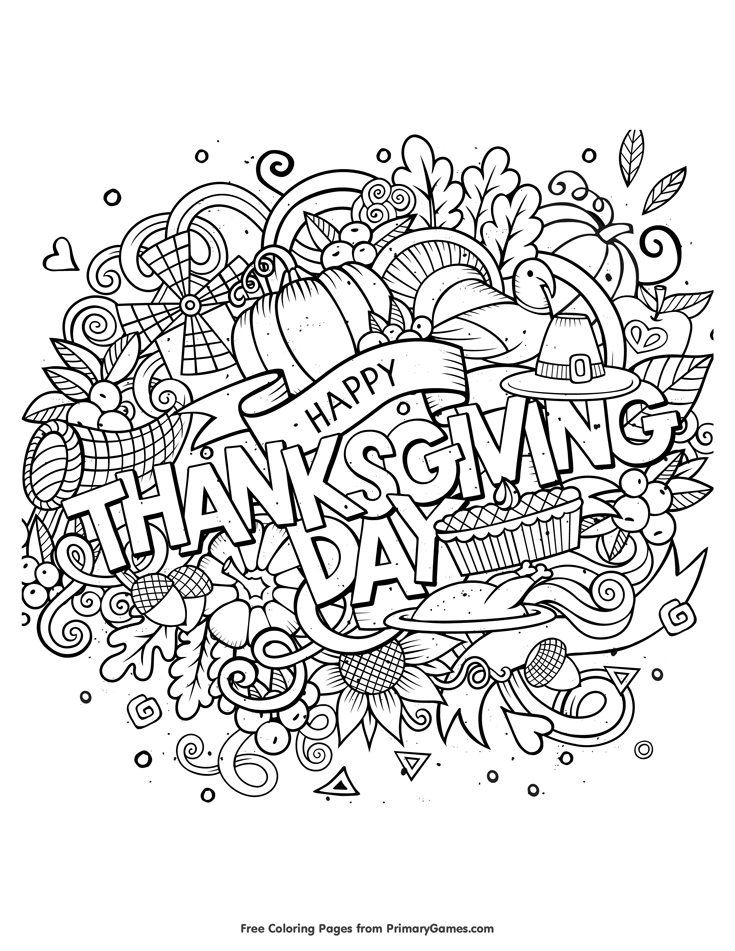 Happy Thanksgiving Day Coloring Page • FREE Printable