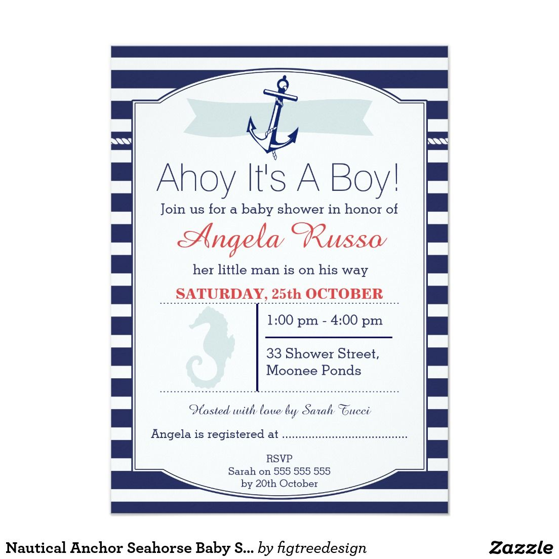 Nautical Anchor Seahorse Baby Shower Invitation Pinterest