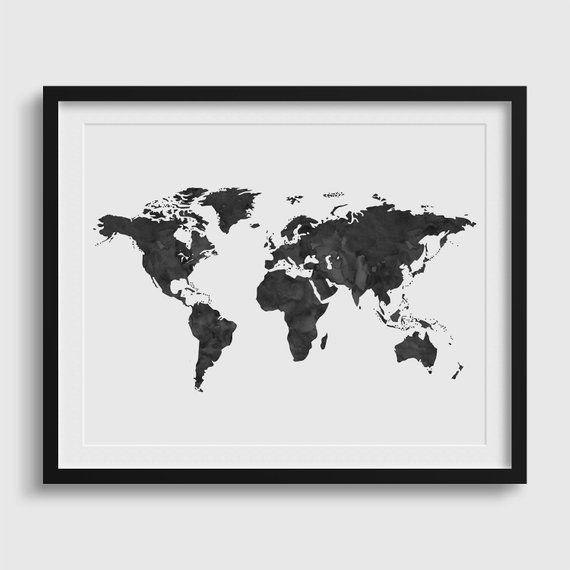 Black World Map Poster.World Map Poster World Map Print World Map Wall Art Watercolor
