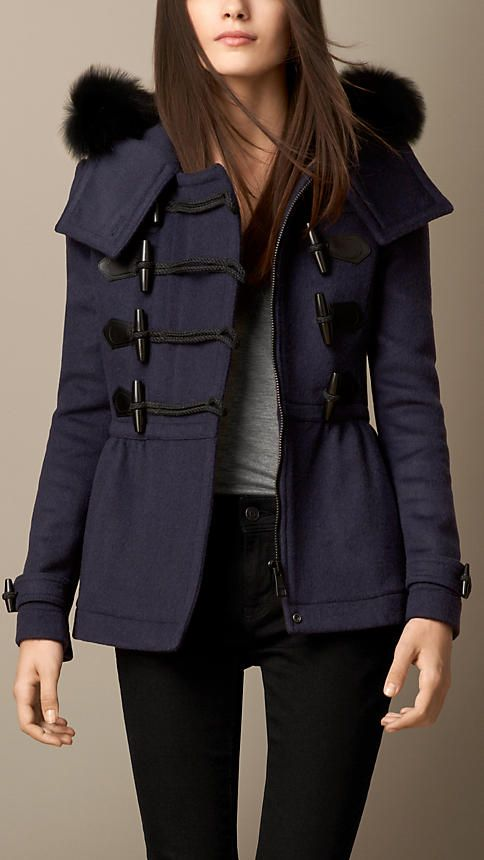 Fur Trim Peplum Duffle Coat   Burberry Love it Jacket Price, Cool Coats,  Duffle 9d990cadd06