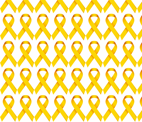 Gold Ribbon for Childhood Cancer Awareness fabric by plumpapaya on