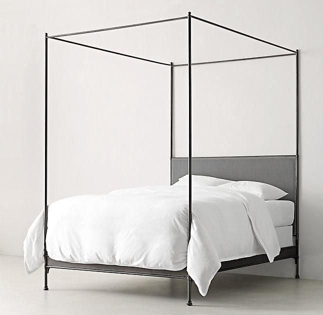RH TEENu0027s Caleigh Iron Canopy BedOur classic canopy bed gets an extra dose of drama from its plush velvet-upholstered headboard and sideboards.  sc 1 st  Pinterest & Image result for 4 poster thin iron bed | Bedroom | Pinterest ...