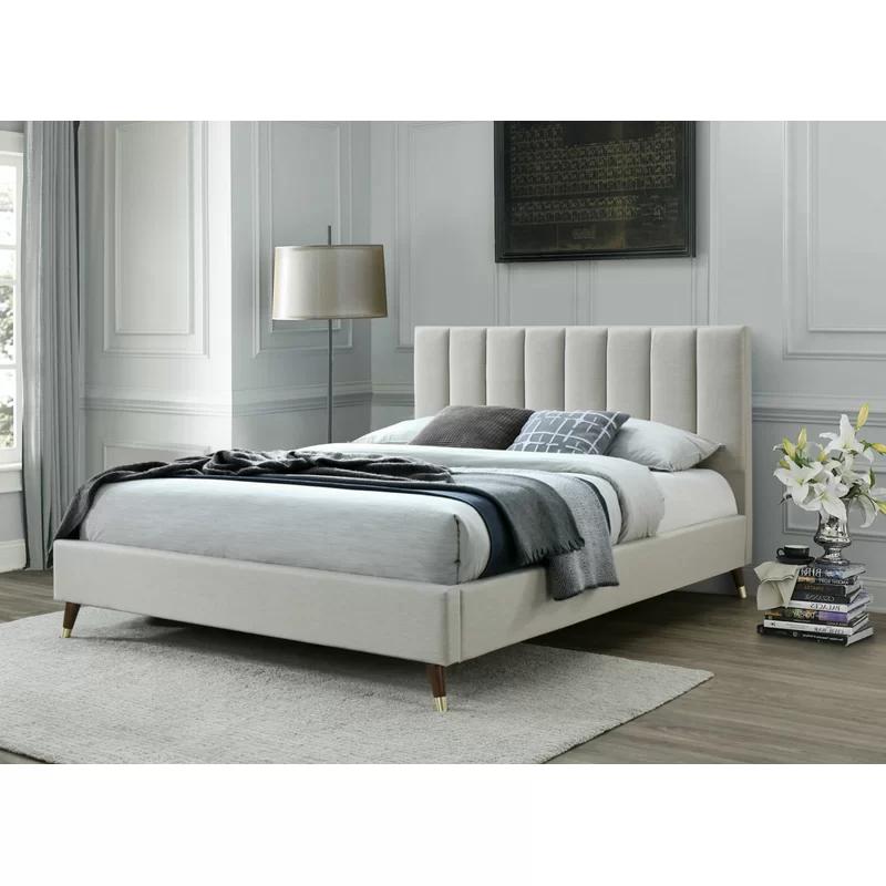 Narcissa Queen Tufted Upholstered Low, Upholstered Platform Bed Queen