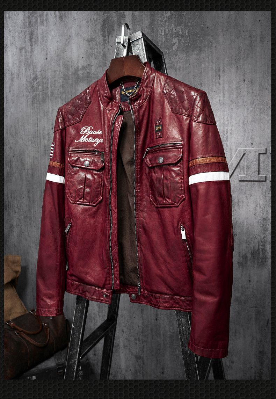 2018 Leather Jacket Men 100% Genuine Leather Outerwear Slim