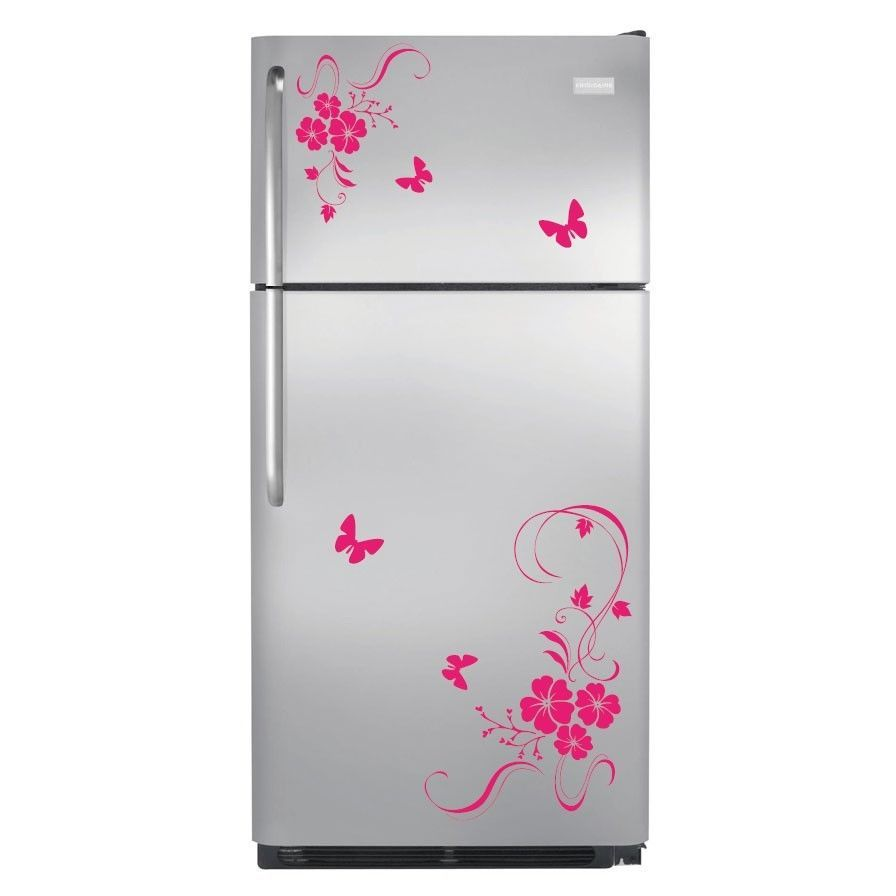 Butterfly Kitchen Appliances Details About Flower Butterfly Refrigerator Wall Stickers Wall Art