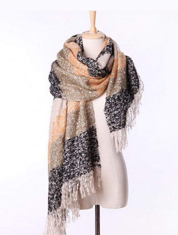 Keep you warm this winter with this Colorful Stripes Scarf Gray