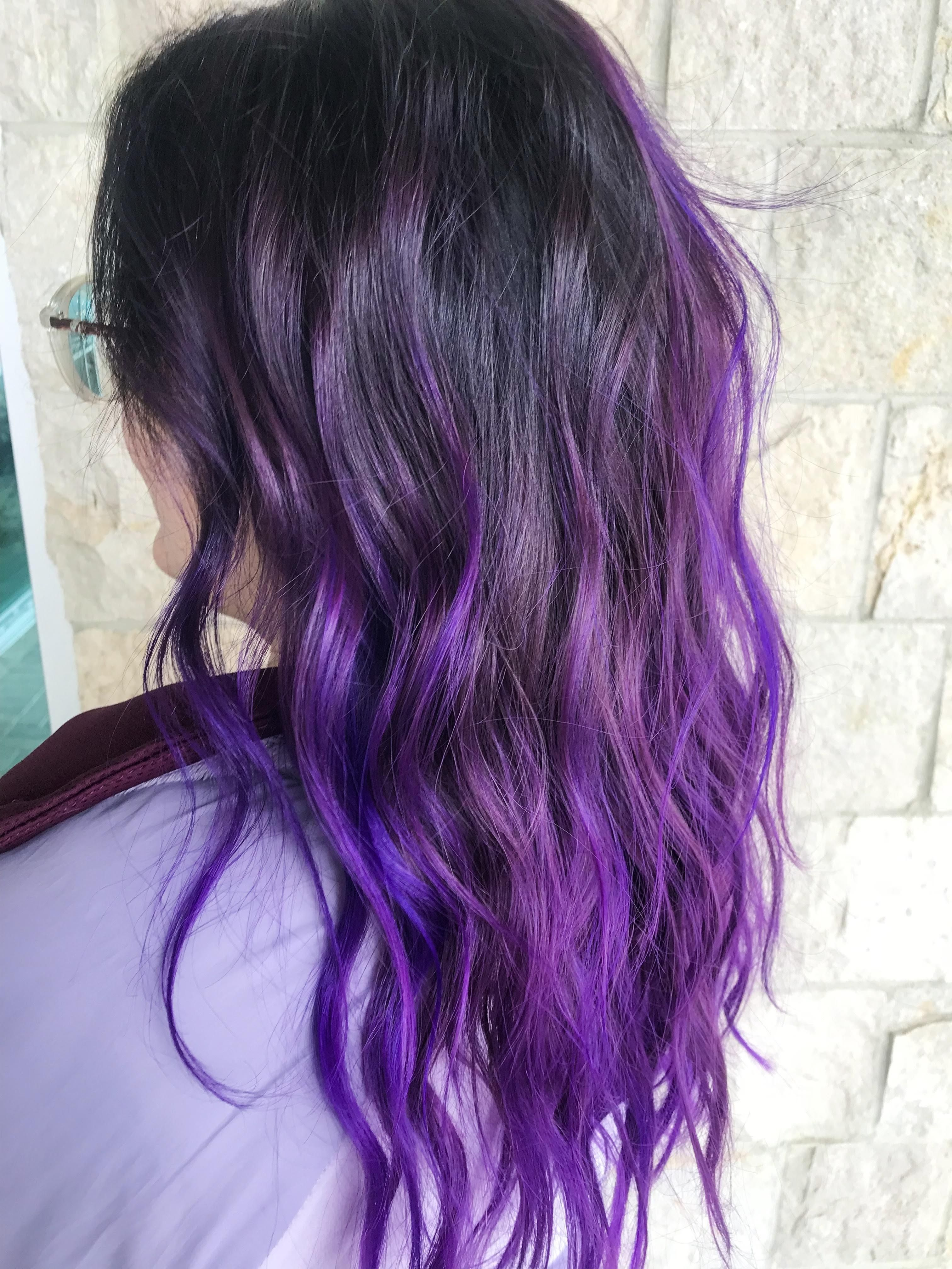 Arctic Fox Purple Rain Balayage I Did A Couple Days Ago Hair Beauty Skin Deals Me Fashion Love Cute Purple Brown Hair Fox Hair Dye Purple Ombre Hair