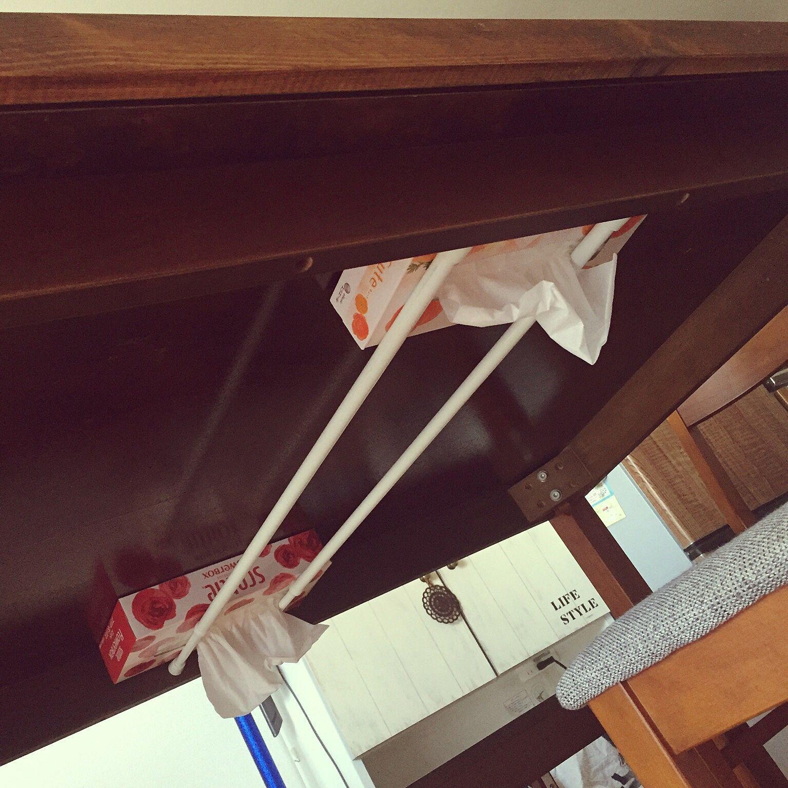 天板diy 机 つっぱり棒 収納アイデア ダイニングテーブルのインテリア実例 2016 09 07 20 00 36 Roomclip ルームクリップ 収納 アイデア インテリア 収納 ダイニングテーブル 収納