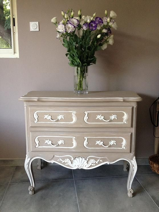 Commode relook de couleur beige mes creations meubles - Commode couleur taupe ...