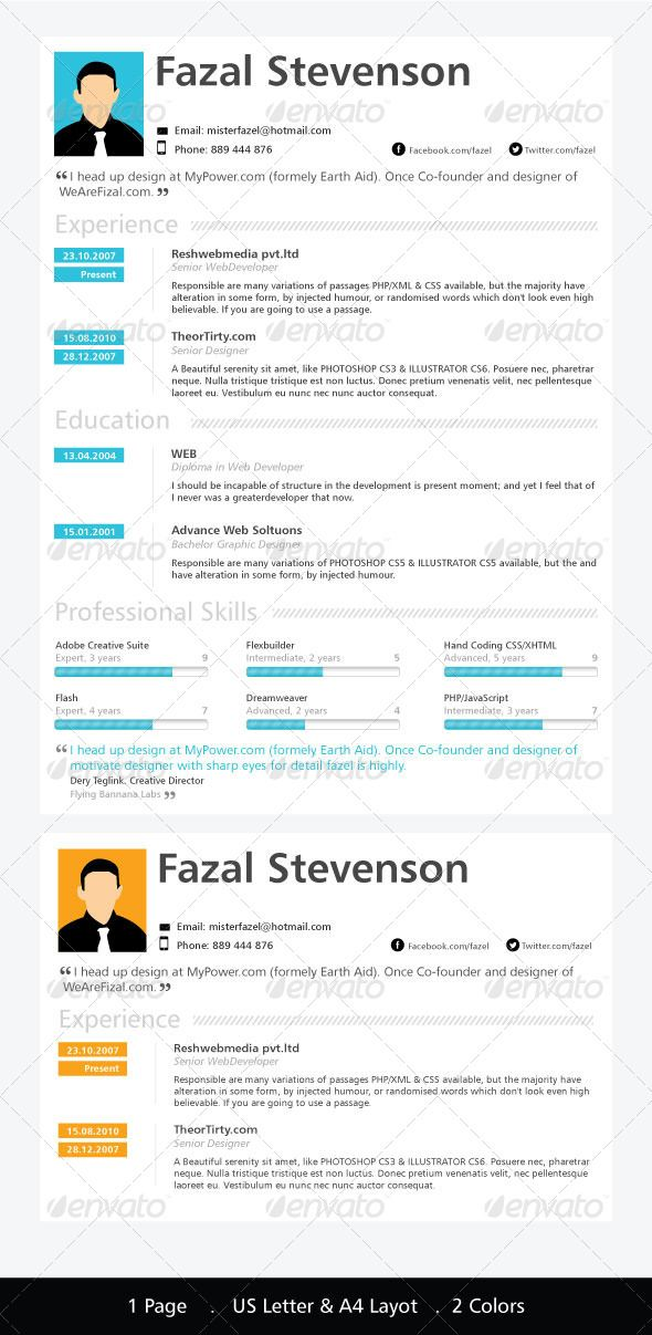 One Page Resume Template Template, Simple resume template and - single page resume