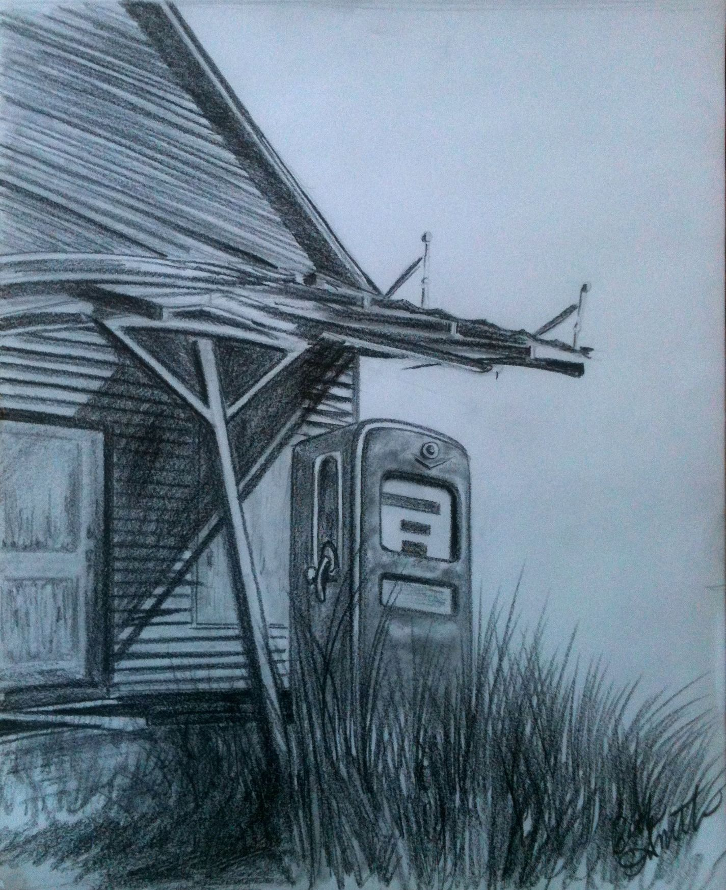 Pencil Drawing Of Old Gas Station In Georgia By Beth Smith Old Gas Stations Gas Station Filling Station
