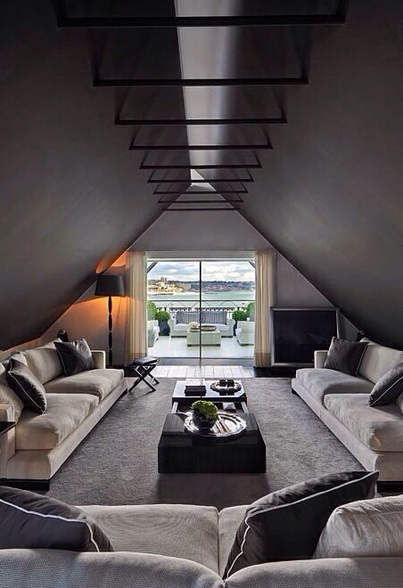 Dark And Moody Attic Living Room With Dark Colored Ceilings