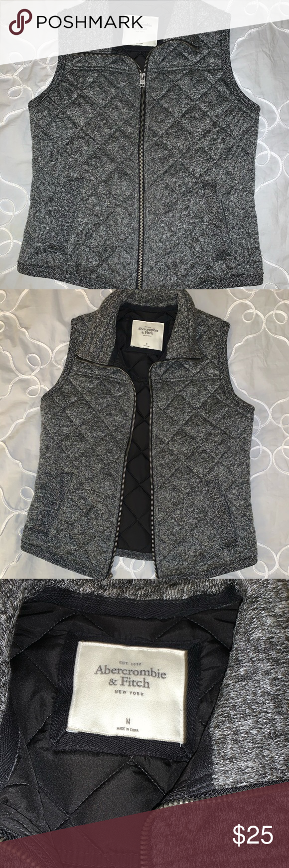 Abercrombie and fitch grey quilted vest ✨ EXCELLENT CONDITION worn maybe 1 or ...#abercrombie #condition #excellent #fitch #grey #quilted #vest #worn