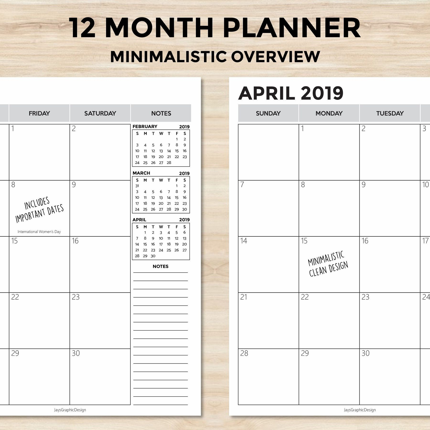 2019 Minimalistic Monthly Planner Printable Planner Dated