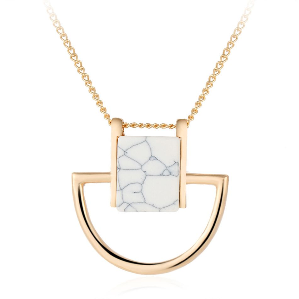 Fashion white turquoise natural stone necklaces u pendants for women