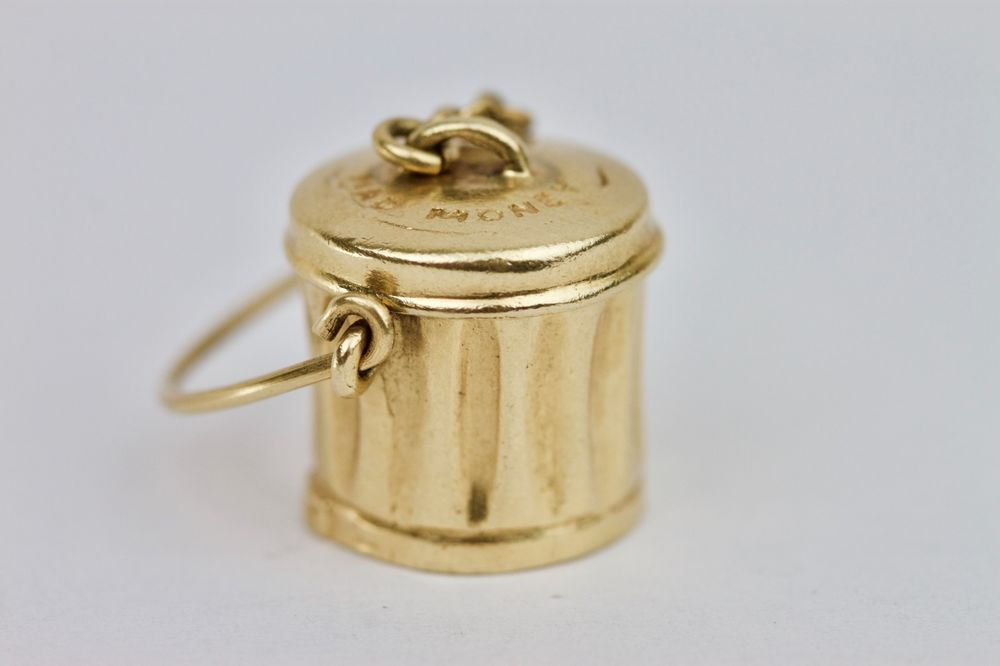 #Vintage #14k #Yellow #Gold #Mad #Money #Can #Charm 5.3 Grams 23mm #siren #love