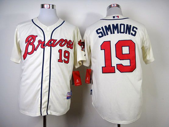 best cheap 2d14e a067d MLB ATLANTA BRAVES #19 SIMMONS CREAM JERSEY FJ | Atlanta ...
