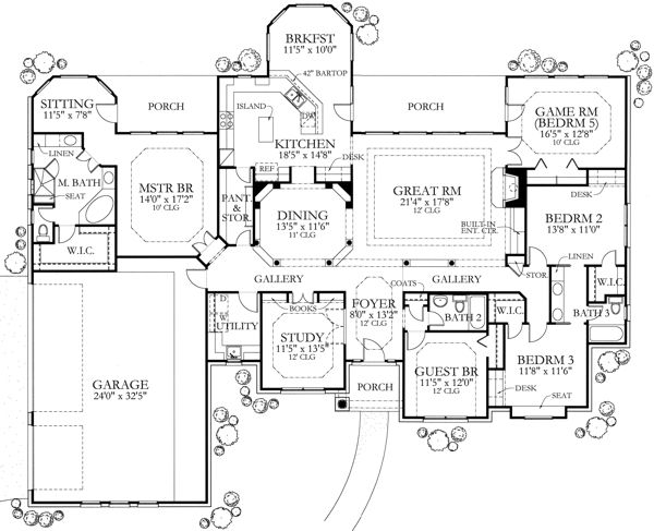 Texas Country Home Plan Four Bedrooms Plan 136 1002 French House Plans House Floor Plans Country House Plans