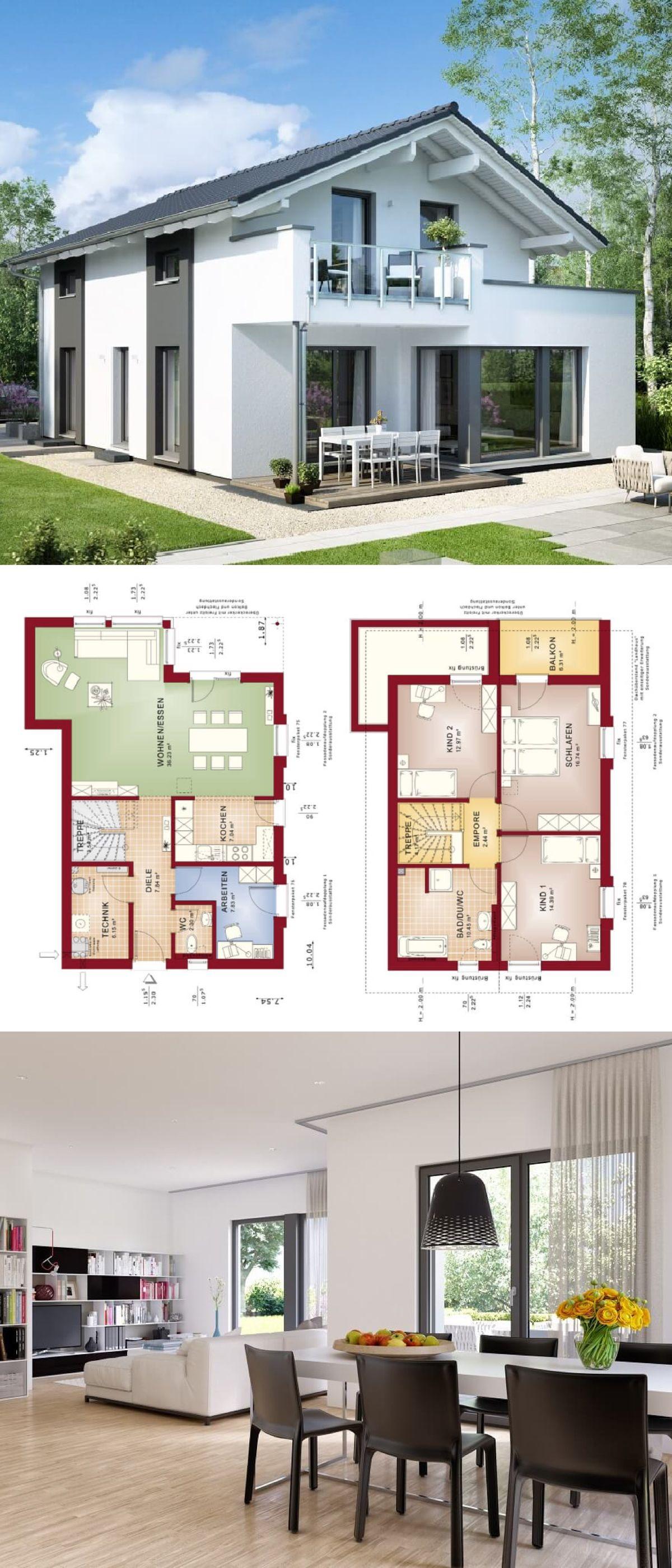 Erstaunlich Einfamilienhaus Modern Mit Satteldach Architektur U0026 Erker Anbau Mit Balkon    Haus Bauen Grundriss Fertighaus Edition