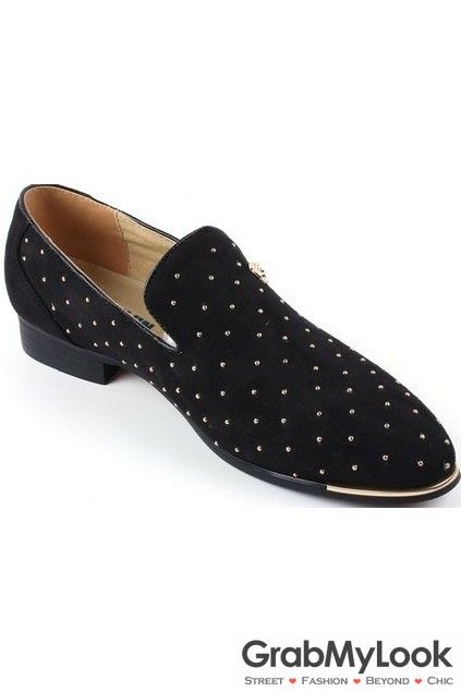 GrabMyLook Metallic Gold Studs Rivets Black Suede Loafers Oxford Men Dress  Shoes - GrabMyLook Metallic Gold Studs Rivets Black Suede Loafers Oxford