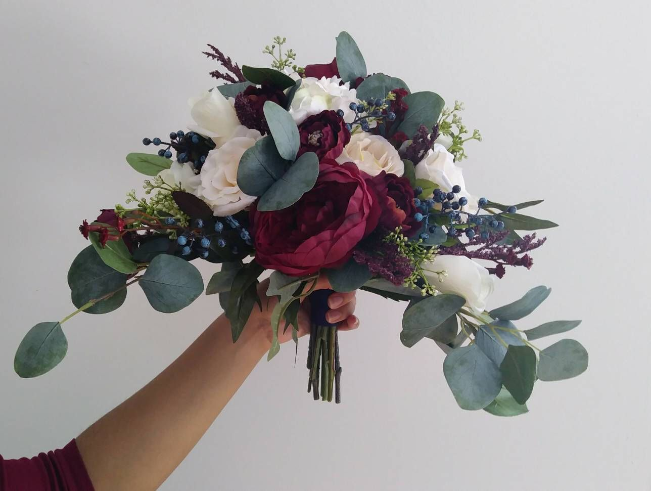 Bridal Bouquets, Wedding Bouquet, Wedding Flowers, Artificial Wedding Bouquet, Cascade Bouquet, Silk Flower Bouquet,Navy, Burgundy, Ivory #flowerbouquetwedding