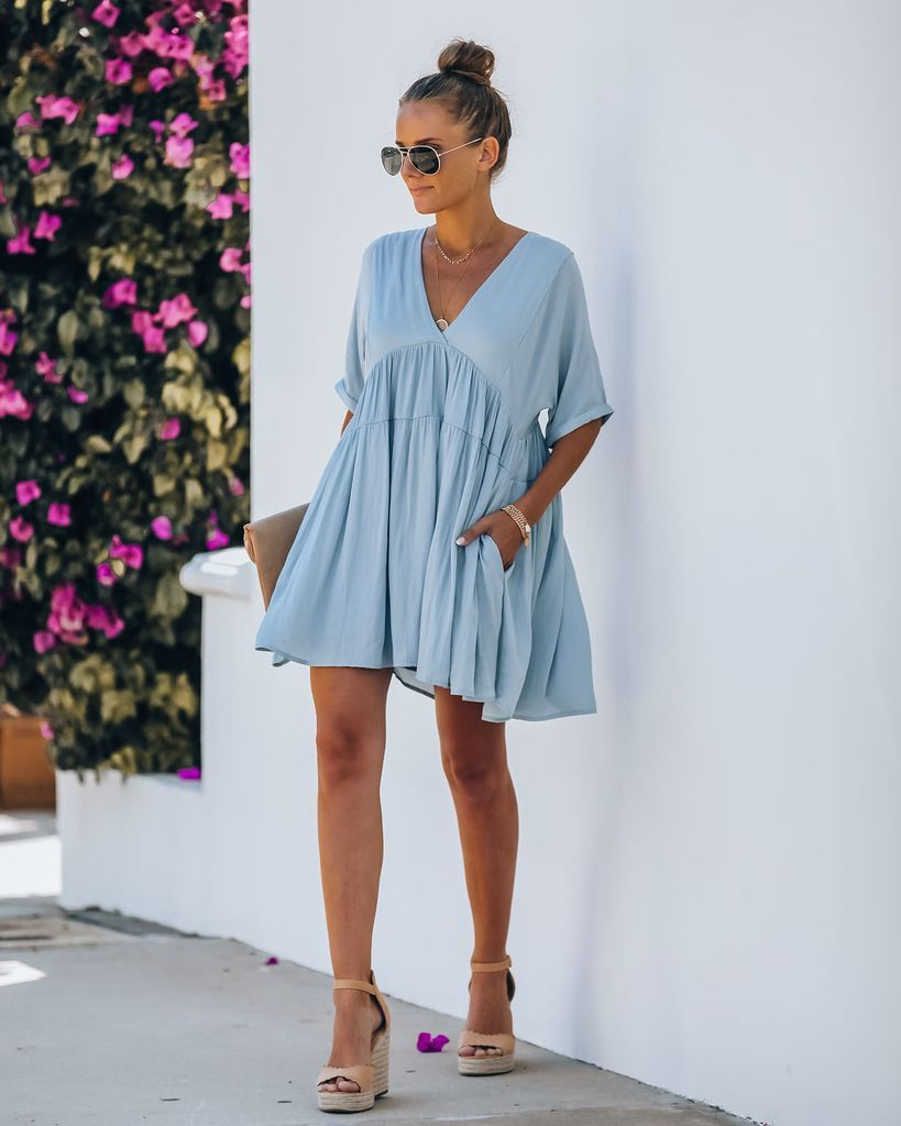 Giddy Pocketed Babydoll Dress Cloudy Blue Babydoll Dress Blue Dress Short Spring Photoshoot Outfits [ 1024 x 819 Pixel ]