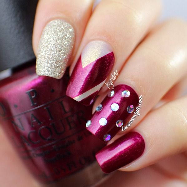OPI Mariah Carey Nail Art - a gorgeous plum shade with chevrons ...