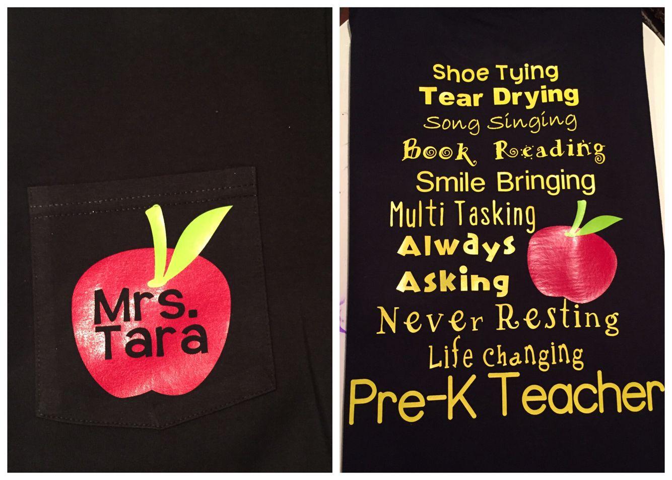 Pre K Quotes Prek Htv Teacher Shirt Apple Monogram  Made It  Pinterest