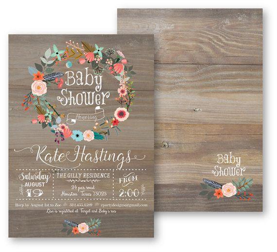 woodland baby shower invitation, girl, antler, feather, watercolor, Baby shower invitations