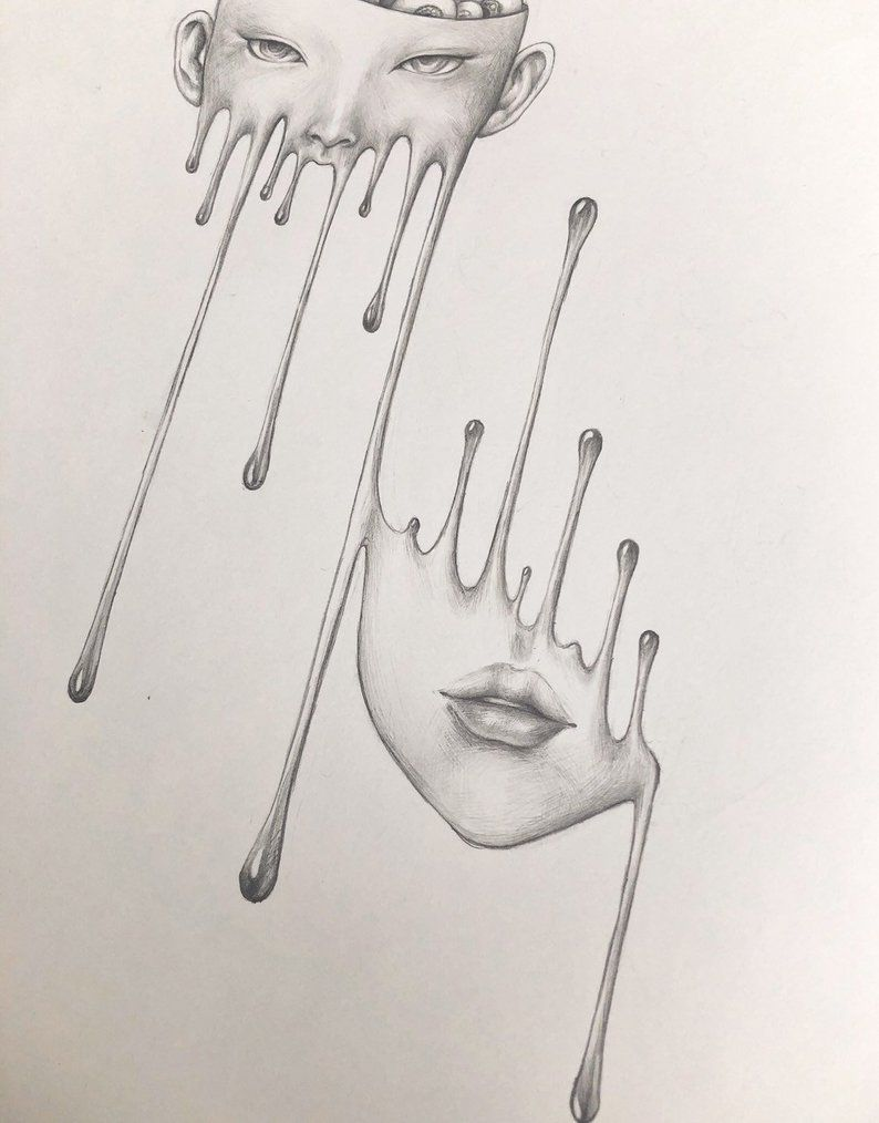 Melting girl with eyeball surreal pencil drawing horror wall