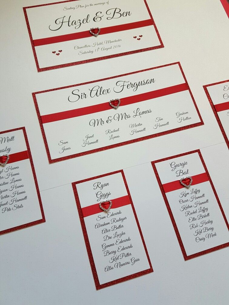 Red and ivory Manchester United themed wedding table plan board ...