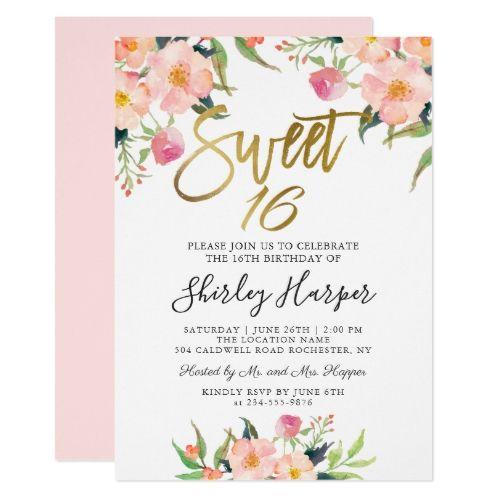 Pink Floral Gold Script Sweet Sixteen 16 Birthday Invitation | Zazzle.com #sweetsixteen
