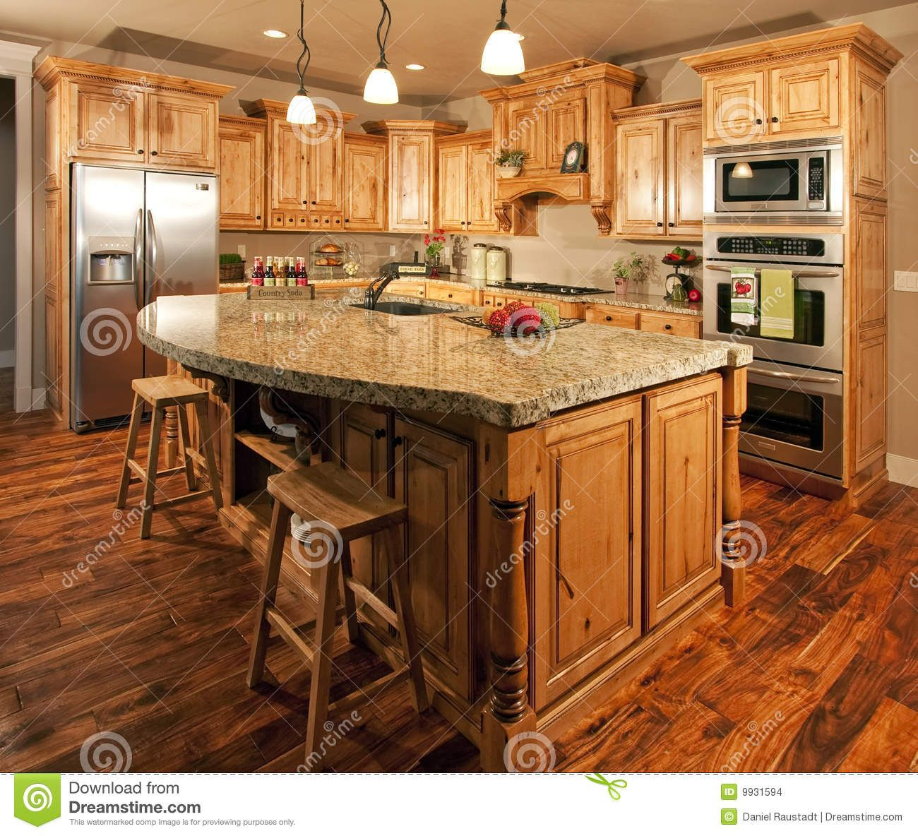 Oak Cabinets Kitchen Island Designs: Modern Home Kitchen Center Island Stock Images Image