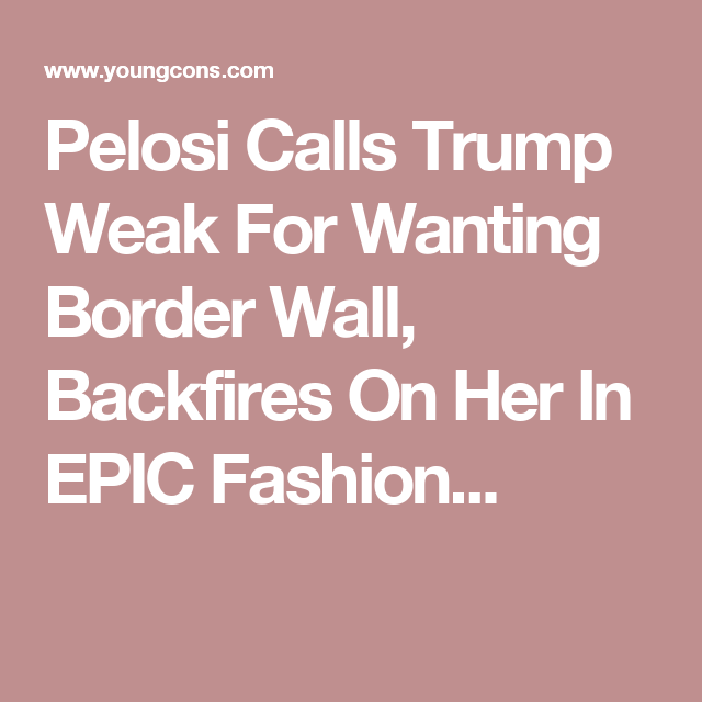 Pelosi Calls Trump Weak For Wanting Border Wall, Backfires On Her In EPIC Fashion...