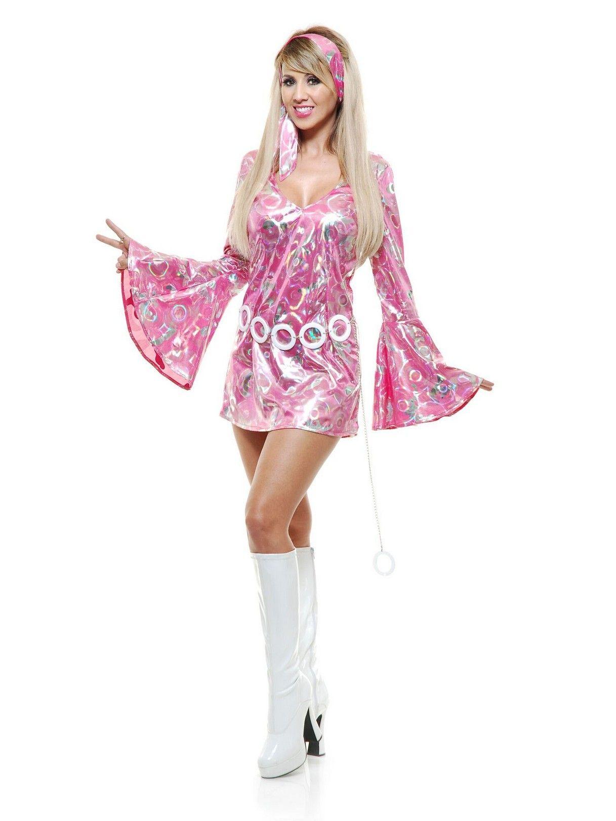 Donna 70s Boogie Fever Costume Adulti 1970s DISCO DIVA Dolly Costume Vestito