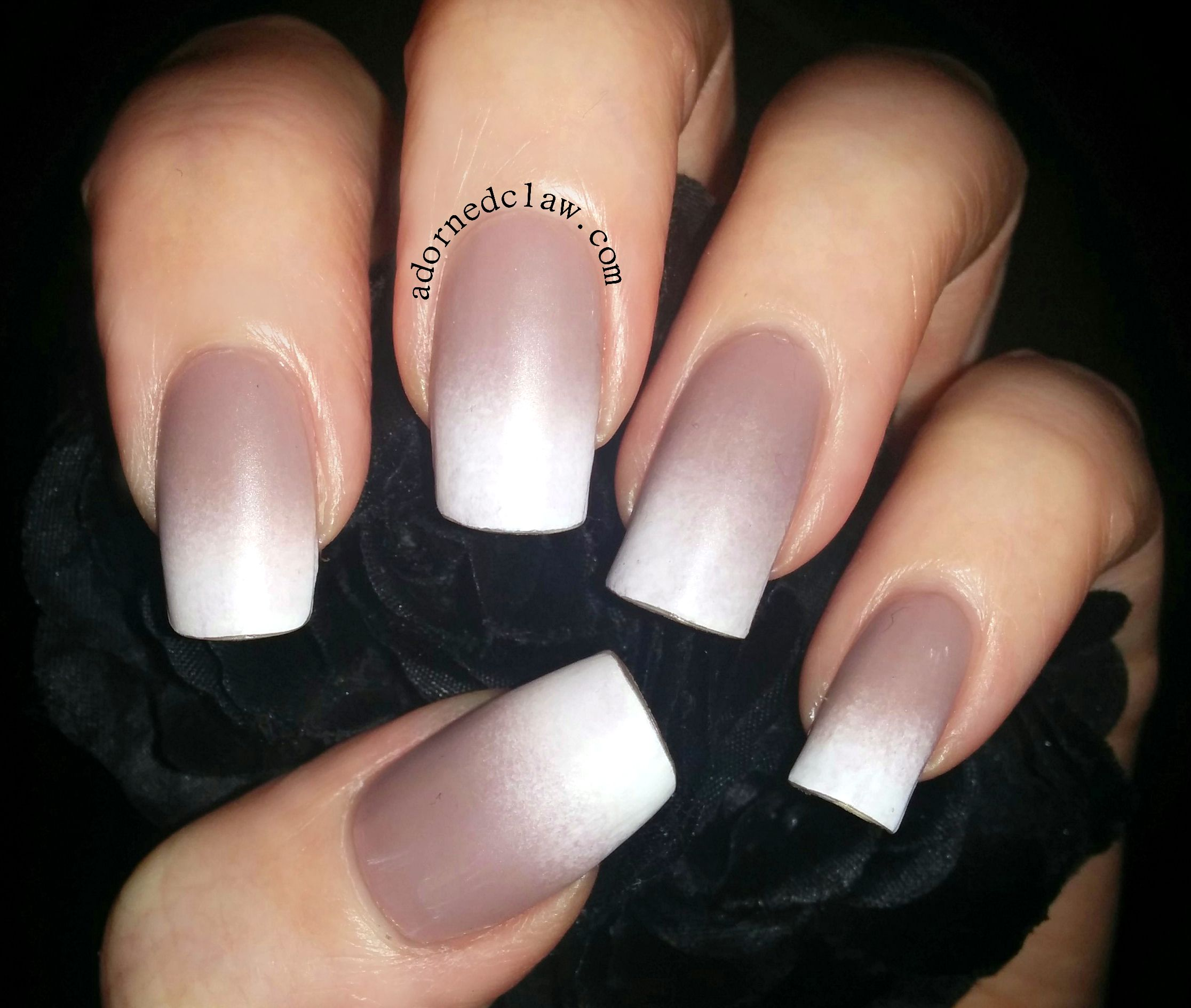 Copycat Claws Blue Color Block Nail Art: Nude And White Matte Gradient