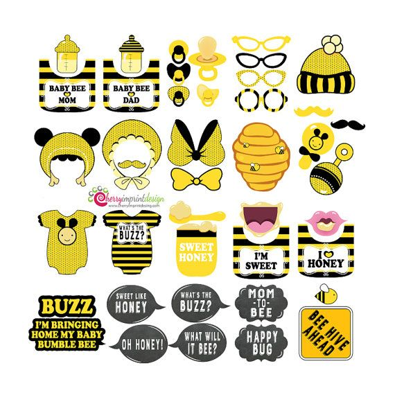 42 Hilarious Bumble Bee Baby Shower Photo Props By CherryImprintDesign