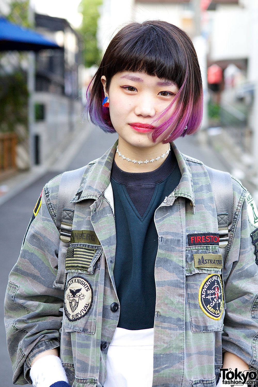 pink& purplejapanese bob hairstyles | rainbow hair