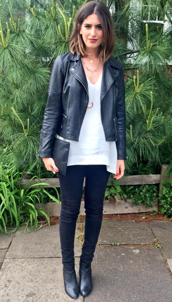 leather jacket, white tee & little black jean