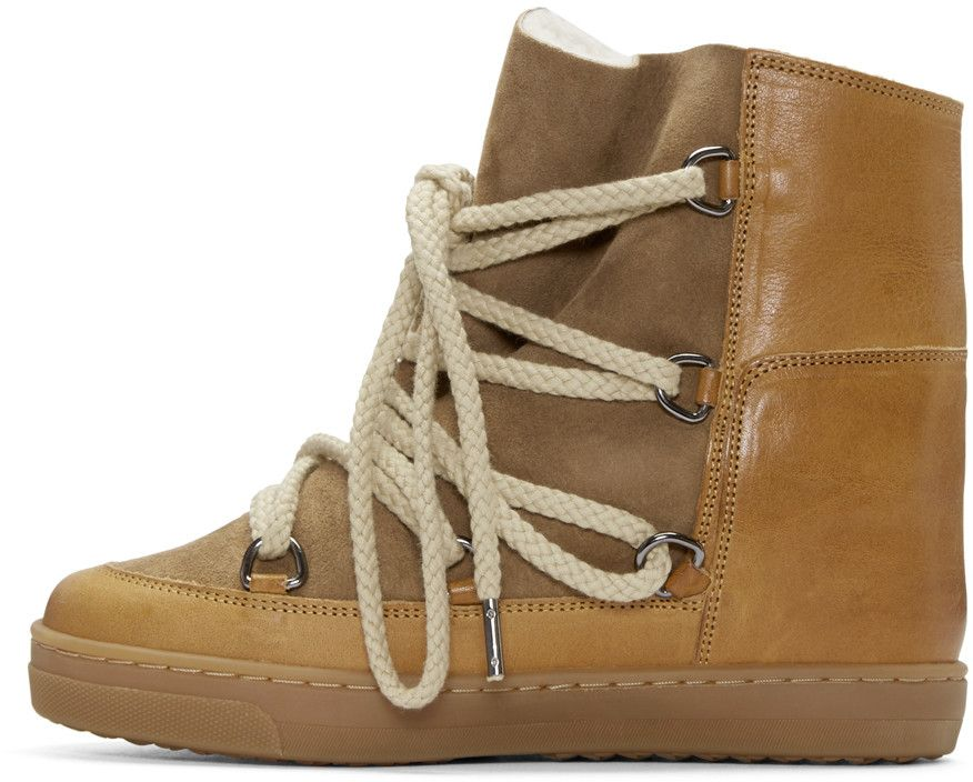 fd0f20113e8 Isabel Marant - Camel Shearling Nowles Boots Shearling Boots, Runway Shoes,  Ankle Highs,